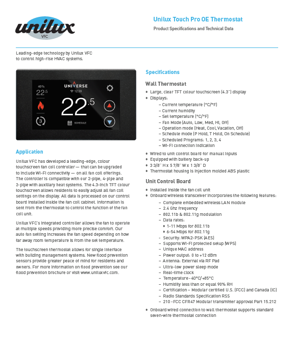 Touch Pro OE Thermostat