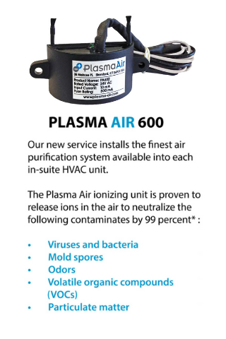 Plasma Air 600 Bi-Polar Ionization Air Purifier unit with benefits in text: Reduces Viruses, mold spores, odors, VOCs and particulate matter.