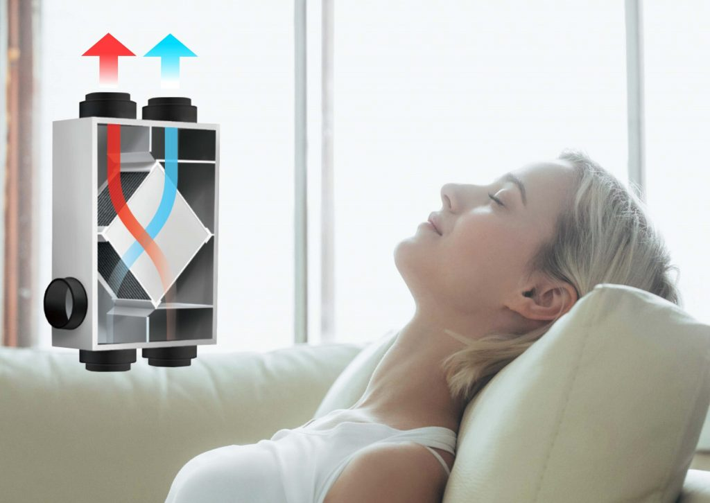Woman on couch with HRV/ERV air flow through cabinet insert